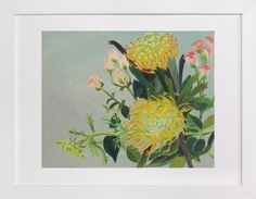 Pincushion Protea Painting by Debra Bianculli at minted.com
