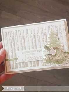 Stampin' Up!, Ingridcardsandmore, Kerstkaart, Christmascard, SU, Crumb Cake, Winter Woods Woods, Stampin Up, Seasons, Cake, Winter, Home Decor, Homemade Home Decor, Pie, Mudpie