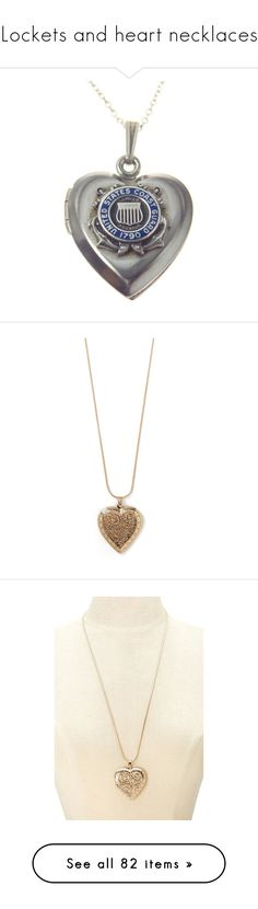 """Lockets and heart necklaces"" by xteenxidlex ❤ liked on Polyvore featuring jewelry, necklaces, sterling silver jewellery, vintage jewelry, vintage sterling silver jewelry, heart shaped pendant necklace, vintage heart locket, antique gold, heart chain necklace and antique gold chain necklace"