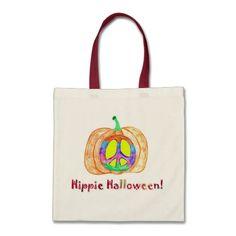 Hippie Halloween Pumpkin Peace Sign
