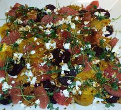 Beet and Citrus Salad with Goat Cheese and Pine Nuts