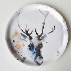 Vaneritarjotin Poro-printillä Big Tray, Small Tray, Watercolor Leaves, Watercolour Painting, Round Wooden Tray, Plywood Design, Arctic Circle, Nordic Design, Antlers