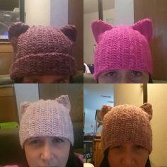 Cat hat, pussy hat, beanie, women's march hat, wool blend, acrylic, black, green, blue, unity, resist, pussyhat, feminism by SlickeryKnits on Etsy