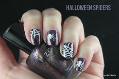 Halloween Spiders nail art. Zoya - Sansa / Rimmel - Hot White Love.