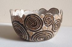 Ornate Handmade Rustic Coil Pot by ForgetMeNotPottery on Etsy