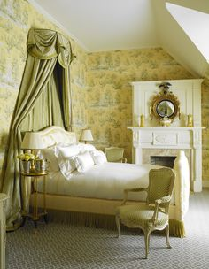 Green and yellow toile, striped silk coronet, Federal bullseye mirror over the mantel, patterned carpet, cord trim around the bed - Alex Papachristidis