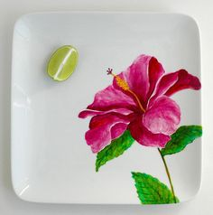 Hand-painted Pink Hibiscus Serving Platter-Limited Edition by MaryElizabethArts