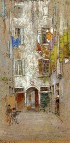 Corte del Paradiso, 1880 James McNeill Whistler, so soft and pretty :) James Mcneill Whistler, Art And Illustration, Art Amour, Art Texture, Pastel Art, Pastel Paper, Art For Art Sake, Fine Art, Art Design