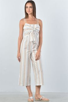 69ca2eacd716 Knotted Striped Jumpsuit - Ellie J Shoppe. A woven jumpsuit featuring an  allover striped print