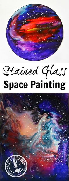 Learn how to paint space with stained glass paints in a simple way! This technique works for creating beautiful abstract wall art and decorating craft projects. Space Painting, Painting For Kids, Art For Kids, Painting Art, Projects For Kids, Art Projects, Space Crafts For Kids, Space Preschool, Preschool Centers