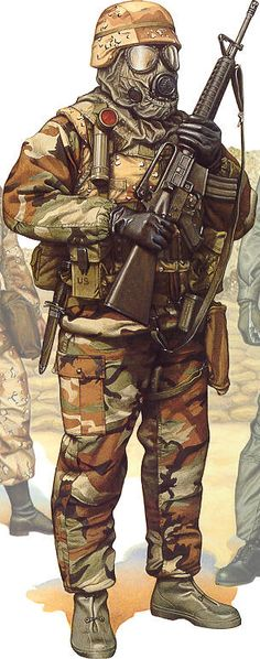 Marine Corps artwork of D. Marine Corps Desert Storm uniform print depicting Gulf War combat uniforms of American Marines Military Gear, Military Equipment, Military History, Military Uniforms, Airsoft, Army Uniform, Us Marines Uniform, Military Drawings, Us Marine Corps