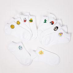 0d8b3e609ec3 35 39 Для женщин летние хлопковые носки Harajuku белый Цвет вышивкой Emoji  Еда кактус характер печати дамы невидимый No Show купить в магазине Jump  Sock Co. ...