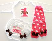 1st Birthday Girl Tee and Bloomer Set - Baby Legs - First Birthday - Baby Girl