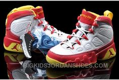 new concept a6bb7 1a8ef Popular Nike Air Jordan 9 Kids White Dark Cayenne Varsity Gold Cheap
