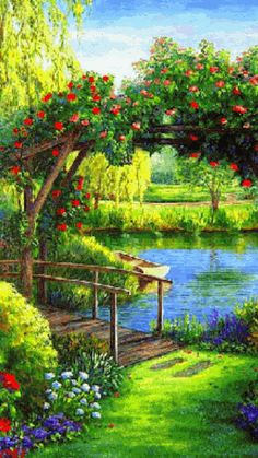 images of beautiful scenery of nature Beautiful Landscapes, Beautiful Gardens, Beautiful Paintings Of Nature, Amazing Paintings, Colorful Paintings, Landscape Art, Landscape Paintings, Oil Paintings, Impressionist Paintings