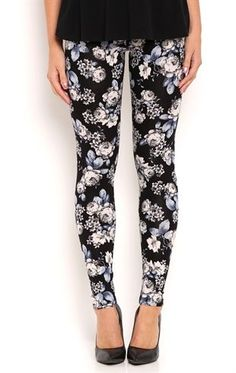 Deb Shops Floral Print Leggings $10.00