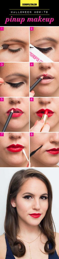 "Begin creating this sexy pinup Halloween costume by contouring eyes and creating a flirty cat-eye with liquid liner. Make your eyes pop even more by applying some false lashes and mascara. To create bold lips, draw an ""X"" on your upper lip and add red lipstick. Finish this old-school beauty look with a faux beauty mark!"