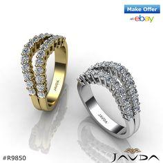 Womens Double Line Half Wedding Band 14k White & Yellow Gold Round Diamond…
