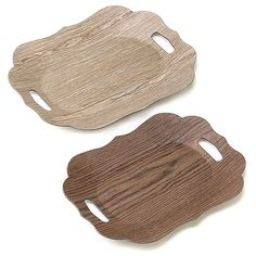 Classic Oblong Wood Grained Trays Set of 2