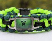 Minecraft Creeper Charm on Cobra 550 Paracord Survival Strap Bracelet w/ Stainless Steel Shackle