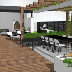 Being built this season:-) Can't wait to see the result🌿 . Garden Design, Landscape Plans, Modern Pergola, Terrace Design, House Exterior, Landscape Design Plans, Exterior Design, Outdoor Living Rooms, Modern Garden Design