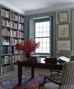 Stunning Library Room Design Ideas With Eclectic Decor - Page 26 of 58 - Best Home Decor List Home Renovation, Home Remodeling, Home Luxury, Luxury Homes, Library Room, Library Table, Green Library, Cozy Library, Home Libraries