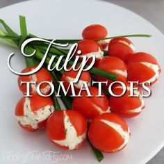 These Tulip Tomatoes would be a great addition to a spring luncheon, brunch or a spectacular side dish for your Easter meal. Tomato Appetizers, Easter Appetizers, Appetizer Recipes, Cheese Cracker Recipe, Cool Whip Desserts, Tomato And Cheese, Easter Recipes, Potato Recipes, Crackers