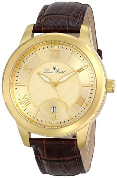 Lucien Piccard Men's Gold Textured Dial Brown Leather Watch ** To view further for this watch, visit the image link. Cool Watches, Watches For Men, Wrist Watches, Lucien Piccard, Brown Leather Watch, Hand Watch, Gold Texture, Stainless Steel Case, Quartz