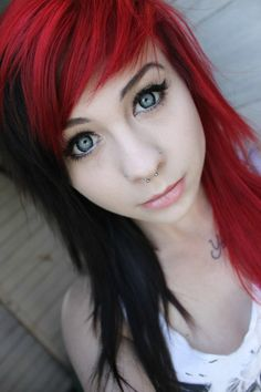 Red and black hair//cute colour and cut.