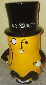 SOLD at Jazz'e Junque Inc. in Chicago ~ www.jazzejunque.com/Mr. Peanut Cookie Jar made in Taiwan by Benjamin & Medwin