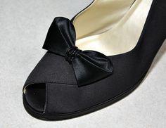 Vintage Black Satin Bow Shoe Clips With Glass by estatesalegems, $4.99