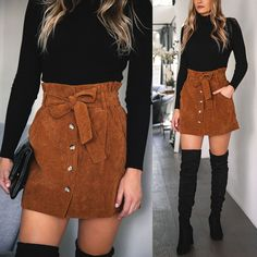 No Loose Ends Tan Corduroy Skirt Date night? Got you covered. That too. What about happy hour? Shop this stunning fit now paired with this stunning corduroy skirt! Winter Outfits For Teen Girls, Cute Fall Outfits, Casual Winter Outfits, Dressy Outfits, Teen Fashion Outfits, Skirt Outfits For Winter, Cute Skirt Outfits, Skirts With Boots, Skirt Boots