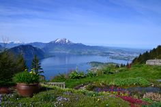View from Felsentor (Rigi) across the Lake of Lucerne and the Pilatus Mountain