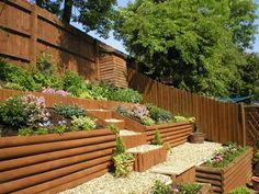 10 Conscious Clever Tips: Small Backyard Garden How To Grow backyard garden fence mulches.Backyard Garden Herbs small backyard garden back yards.Backyard Garden Shed Outdoor. Sloped Backyard Landscaping, Sloped Yard, Backyard Garden Design, Backyard Fences, Landscaping Ideas, Backyard Ideas, Yard Design, Patio Ideas, Backyard Beach