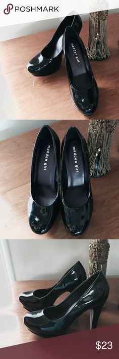 MADDEN GIRL Cleary Black Heels Size 6 Madden Girl Cleary Black Heels Size  6, Heels 4 1/2 inches. These are Preowned and show normal signs of wear. Please see pictures for full details of the condition. Madden Girl Shoes Heels