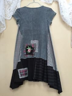 Medium - Altered Clothing, Upcycled Wearable Art Junk Gypsy Tunic, Bohemian shabby Chic Romantic T-Shirt Dress
