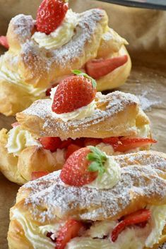 Strawberry Cheesecake Eclairs Eclairs are one of my favorites. These Strawberry Cheesecake Eclairs take that favorite and make it even more sinfully indulgent and decadent. You will not miss the chocolate with this version! No Bake Desserts, Easy Desserts, Delicious Desserts, Yummy Food, Baking Desserts, French Desserts, Health Desserts, Healthy Food, Tasty