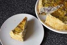 a tall wedge of mushroom quiche