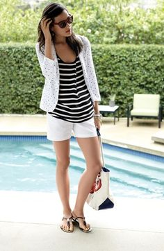 On Trend: Black, white, polka dots, & stripes. Wear them all together.