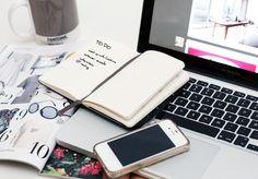 moleskin notebook, iphone, macbook, fashion magazine