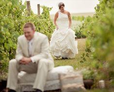 first look in vineyard - 43 best wine themed wedding ideas