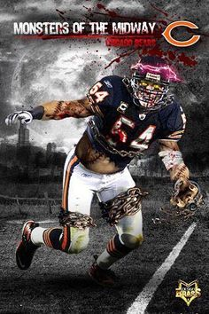 Monsters of the Midway- Brian Urlacher Chicago Bears Pictures, Nfl Chicago Bears, Bears Football, Bear Photos, Chicago Bears Wallpaper, Nfl Championships, Sports Art, Sports Pics, Sports Teams