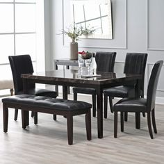 Milano Collection Rectangle Dining Set on sale every day at Hayneedle. Shop our collection of Rectangle Dining Set and get savings of or more! Modern Kitchen Tables, Kitchen Table Chairs, Table And Chairs, Modern Table, Dining Room Sets, Dining Room Table, Contemporary Dining Room Furniture, Dallas, Marble Top Dining Table