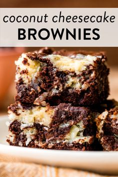 These rich and fudge-like coconut cheesecake brownies combine an easy homemade brownie batter with a coconut cream cheese swirl. #brownies #desserts #baking Coconut Cheesecake, Cheesecake Brownies, Plain Cheesecake, Blondie Brownies, Chocolate Flavors, Chocolate Cookies, Chocolate Desserts, Brownie Recipes, Cake Recipes