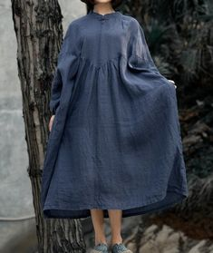 Women navy blue long Dress, large size dress, Dresses for women, Oversized dress