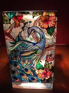 Amia Stained Glass Vase Tea Light Holder Hand Painted-Peacock & Hibiscus flower