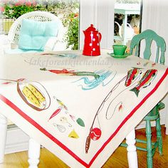 Vintage Style Tablecloth Fly Fishing Fisherman Lake Camp Bait Tackle FREE SHIP