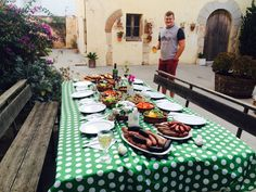 Traditional Spanish dinner @ our old fort, San Pere de Ribbes, Spain. August 2015