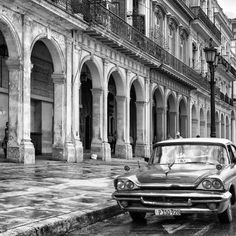 size: Photographic Print: Cuba Fuerte Collection SQ BW - Colorful Buildings and Taxi Car II by Philippe Hugonnard : Black And White Picture Wall, Black And White Wallpaper, Black And White Pictures, Gray Aesthetic, Black And White Aesthetic, Aesthetic Collage, Aesthetic Themes, Retro Aesthetic, Aesthetic Grunge