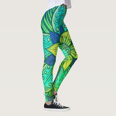Deep Sea Flora Tropical Leggings - women woman style stylish unique cool special cyo gift idea present